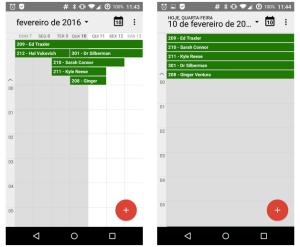 Calendário de reservas sincronizado com o Android